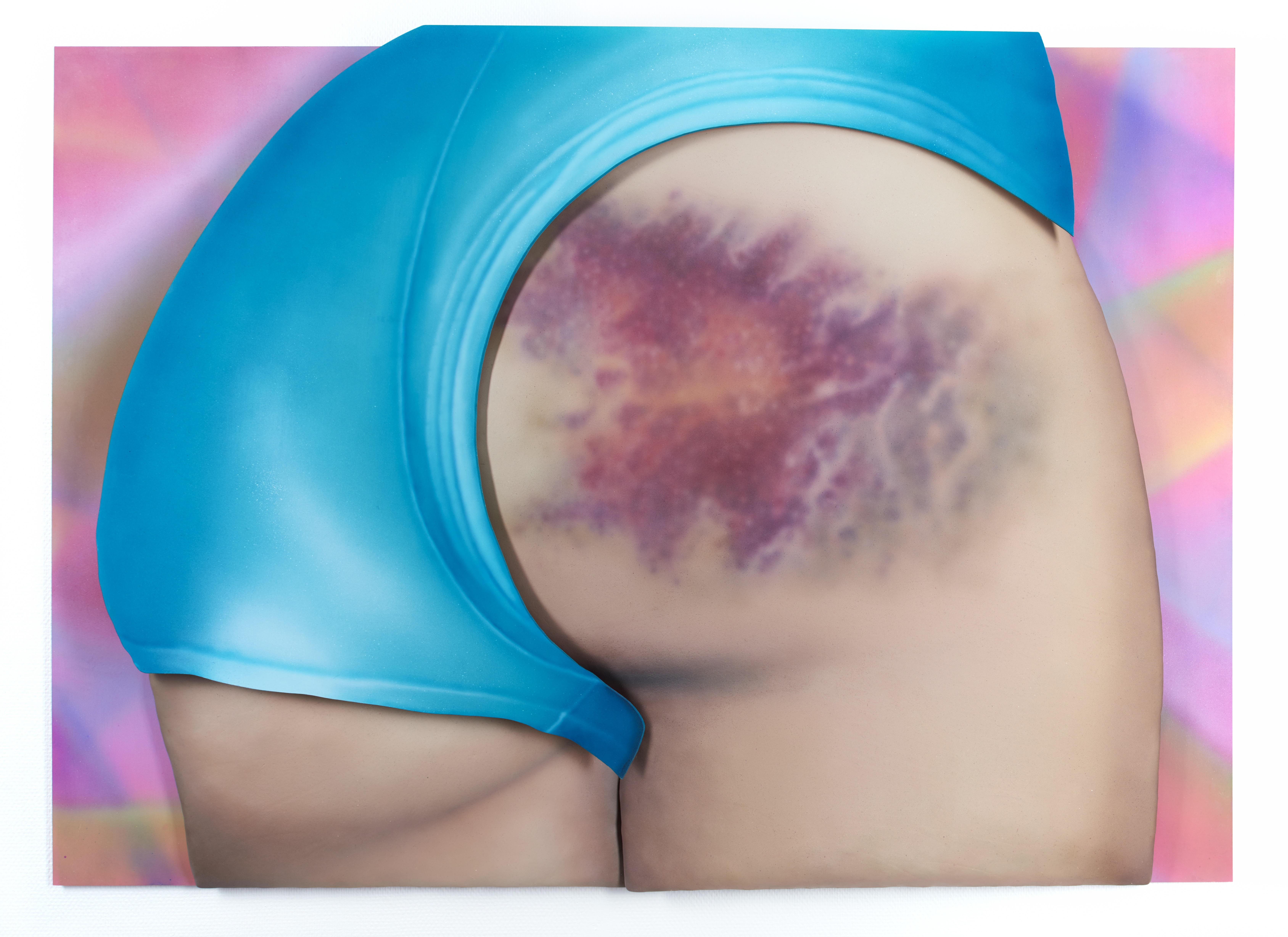 Riikka Hyvönen - I Got a Really Beautiful Bruise on My Bum, Do You Want To See a Pic It Has 12 Colours And Is the Size of My Head!, 2015, Acrylic on leather and MDF, 100 x 150 x 9 cm