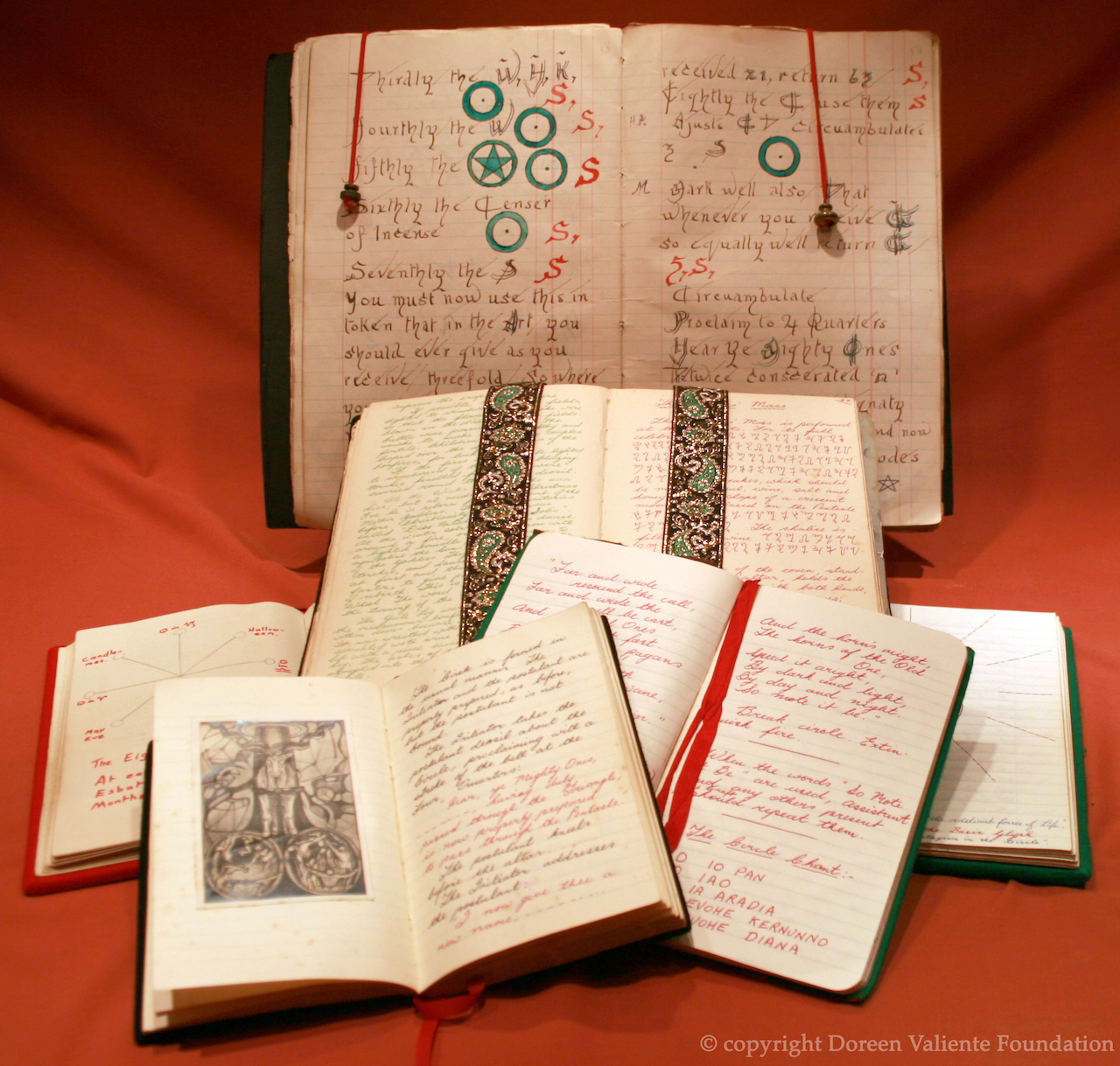 Ritual books owned by Doreen Valiente, including the 'Book of Shadows' at the back (courtesy Doreen Valiente Foundation)