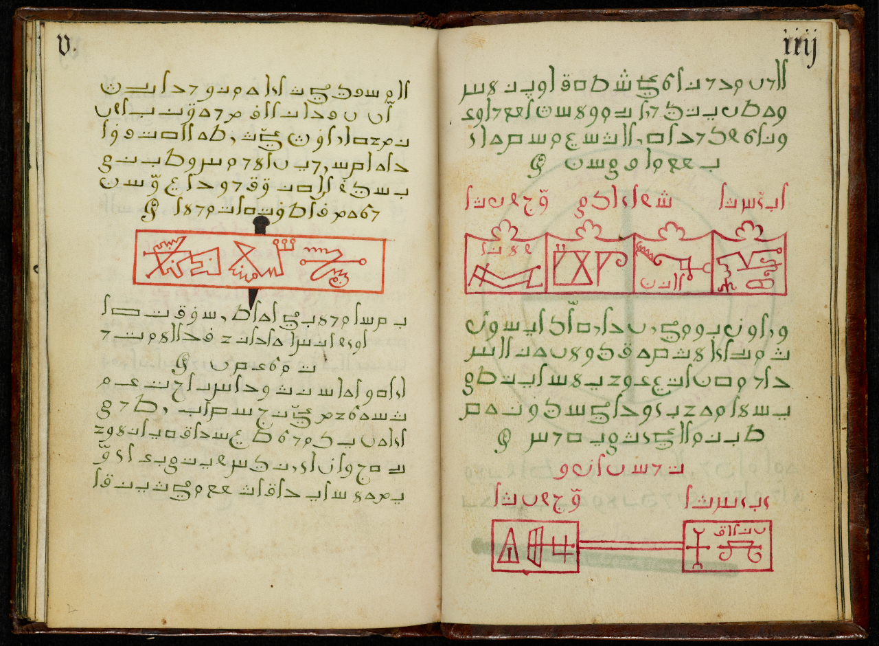 'Compendium of Unnatural Black Magic' (late 1500s, Franconia) (courtesy the University of Manchester). The 'Compendium' contains a set of instructions to summon eight evil spirits. This book was attributed to Michael Scot, whose infamy as a supposed magician was noted by the Italian poet Dante.