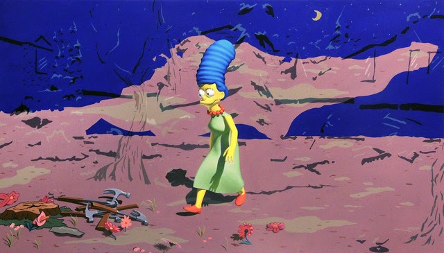 """Chason Matthams, """"When I survey the glorious cross, Fabelar's 3D Marge Simpson with 'Jeff and some Aliens' background"""" (2015) (image courtesy of Thierry Goldberg Gallery)"""
