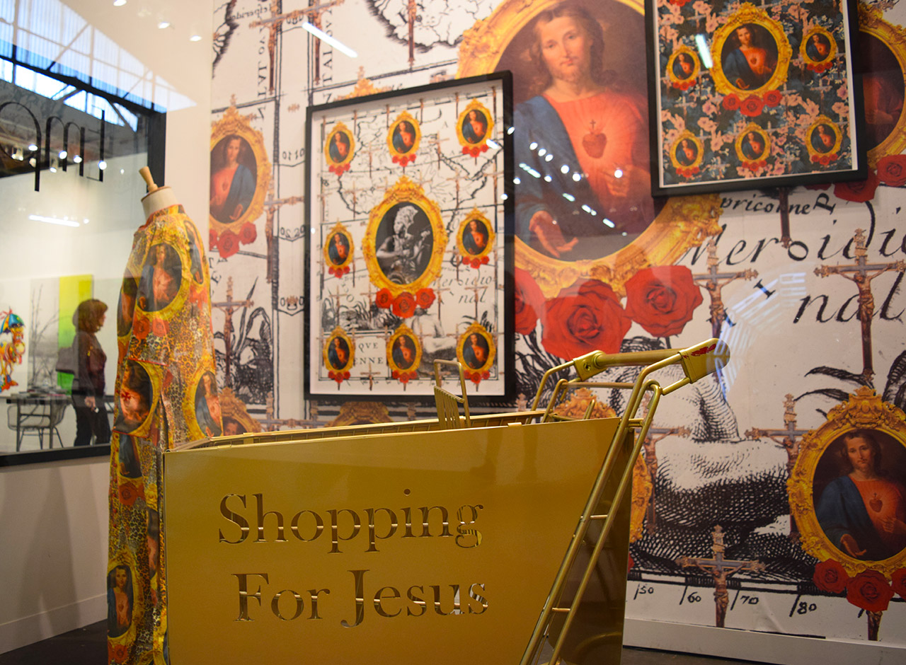 "Alternate view of Kudzanai Chiurai's installation ""Emporium"" (2016) in the Goodman Gallery booth at the 2016 Armory Show"