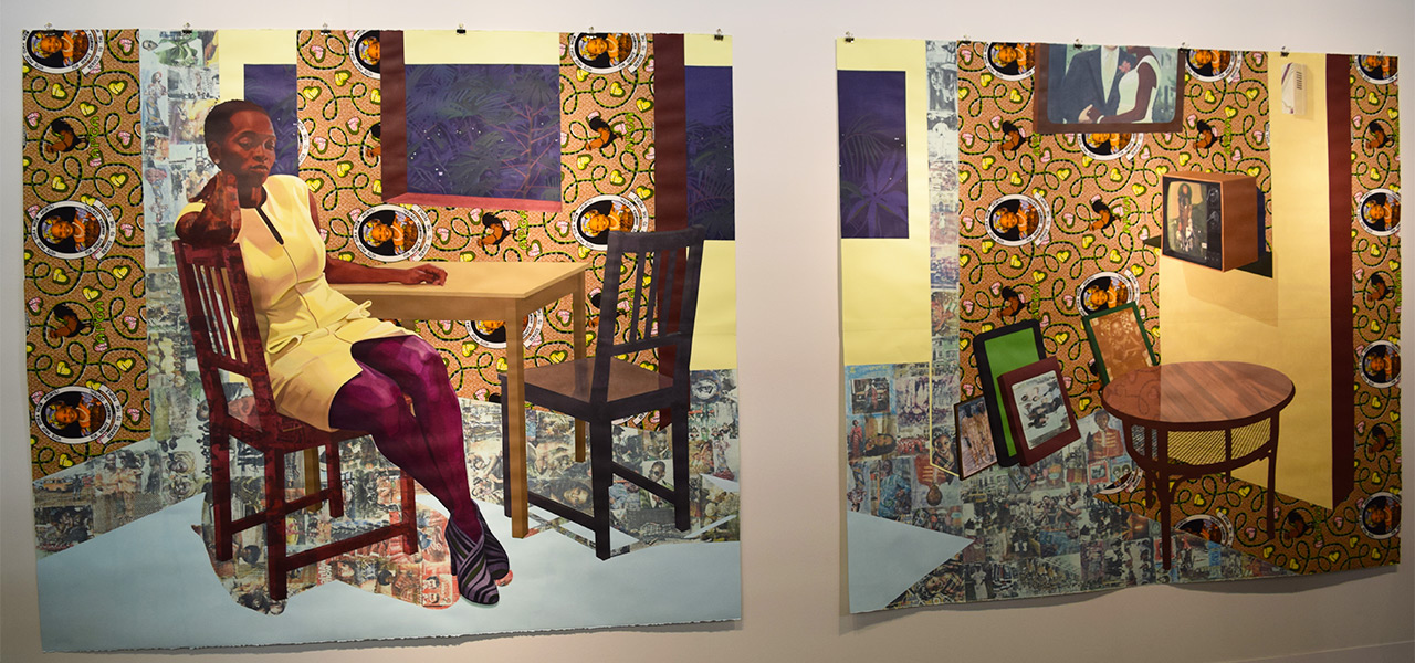 A new diptych by Njideka Akunyili Crosby in the Victoria Miro booth at the 2016 Armory Show
