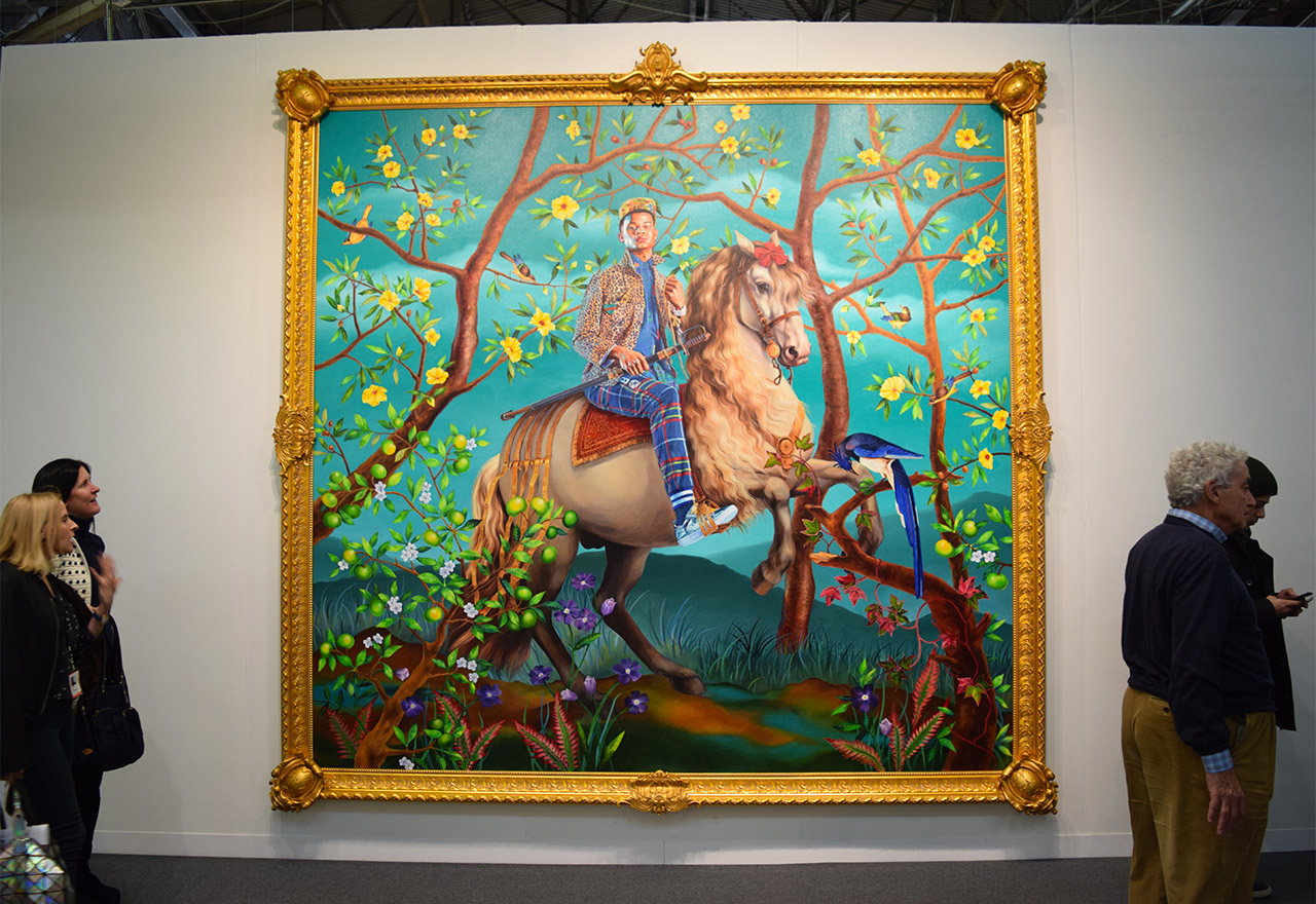 """Kehinde Wiley's """"Equestrian Portrait of Philip III"""" (2016) in the Sean Kelly booth at the 2016 Armory Show"""