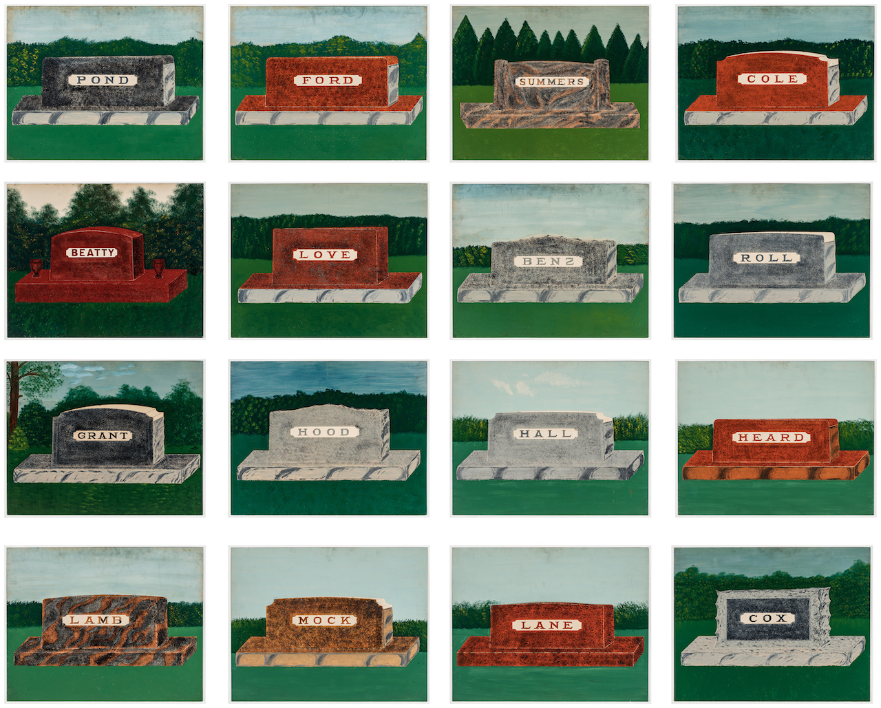 """E.B. Roberts, """"Series of Salesman Samples for Memorials"""" (English Indiana, 1929), Each 20 x 24 inches, enamel on board (courtesy Ricco/Maresca Gallery)"""