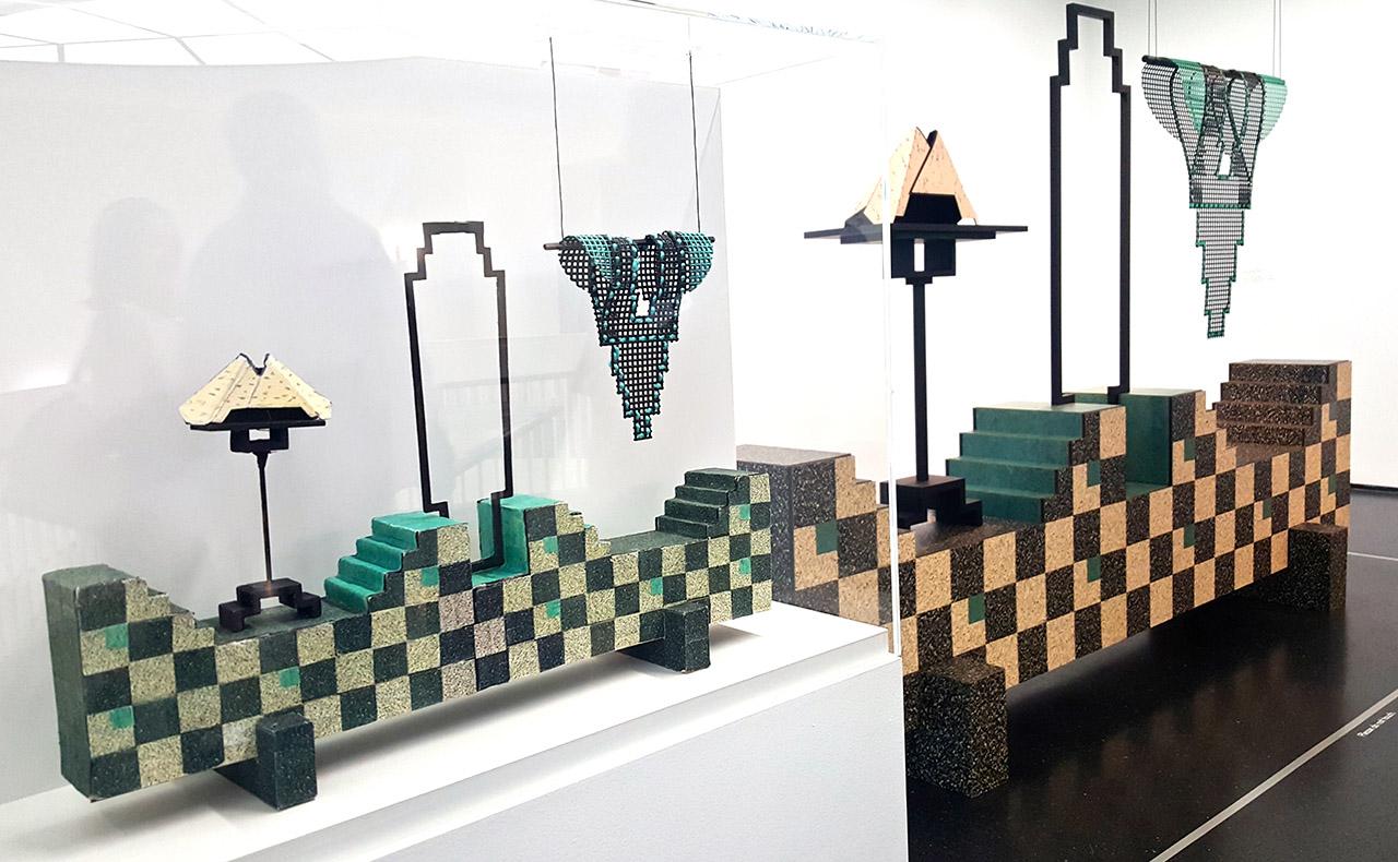 "Diane Simpson, ""Window Dressing: Background 6, Collar & Bib-deco"" (2007/08), foam board, linoleum, wood aluminum, enamel, and archival cardboard, with maquette at left"
