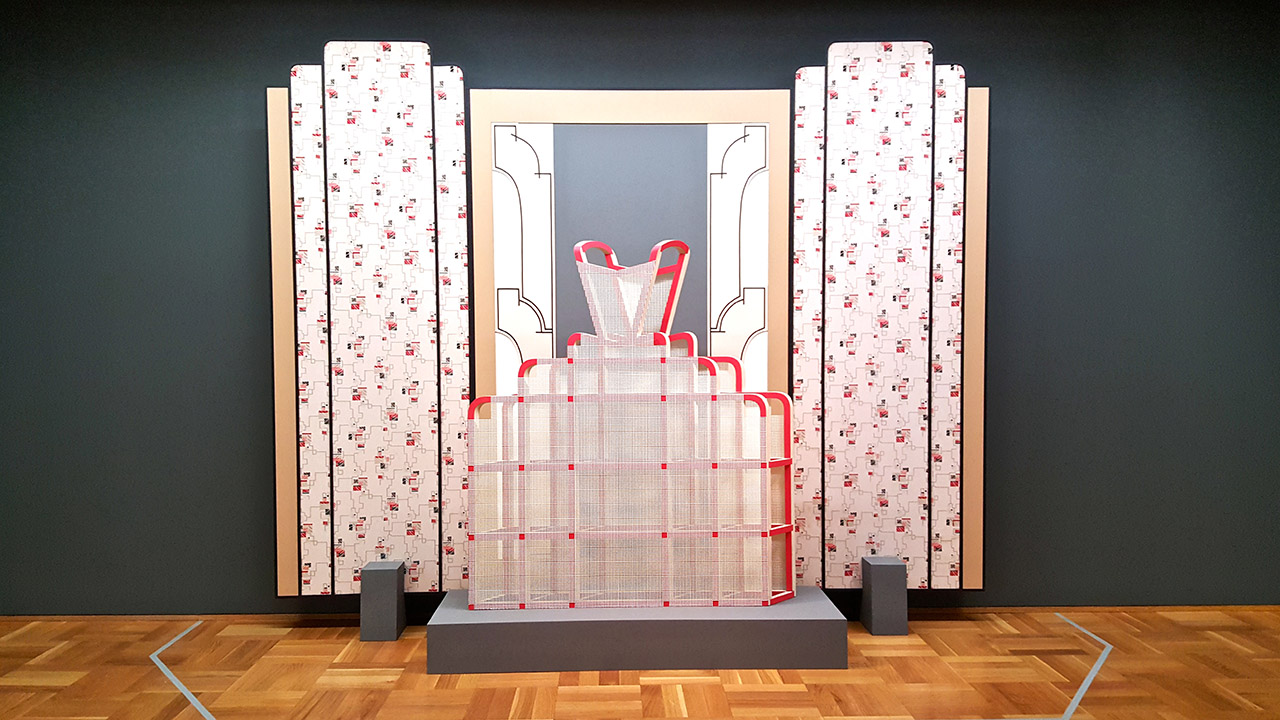 """Diane Simpson, """"Window Dressing: Background 3, Pinafore"""" (1994/2007), foam board, wood, enamel, vintage wallpaper, tape, cotton mesh, and oil satin and acrylic on MDF"""