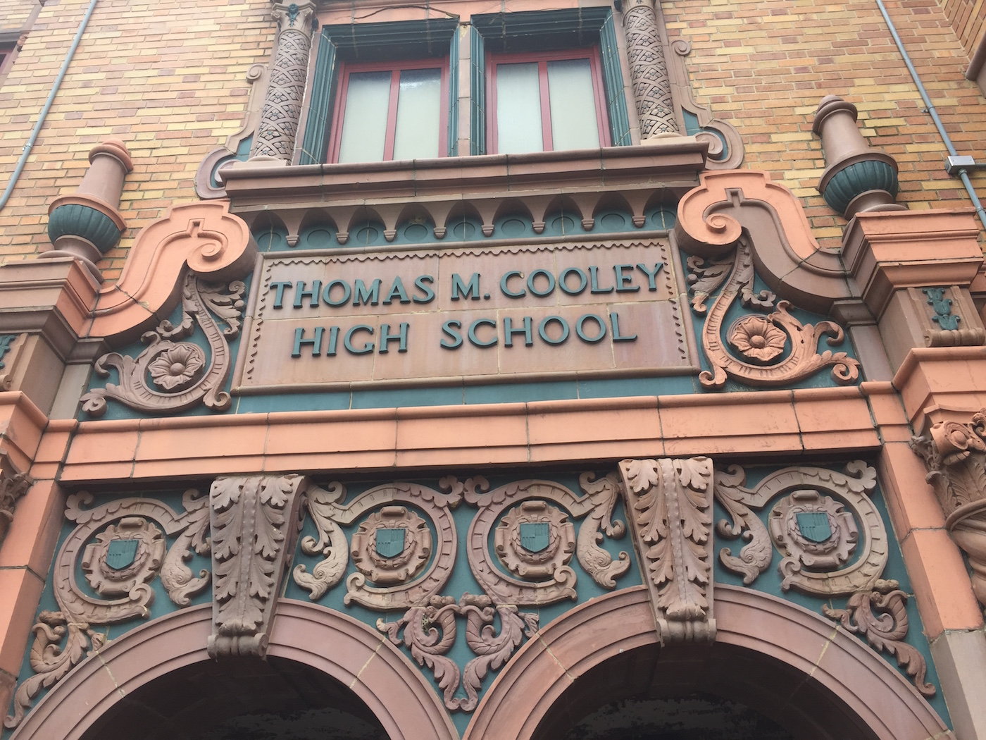On the first day, fellows toured Cooley High School in Detroit's Northwest neighborhood, now being repurposed for the the Cooley Reuse Project, a future community hub with a library and mixed-income housing. (photo by the author for Hyperallergic) (click to enlarge)