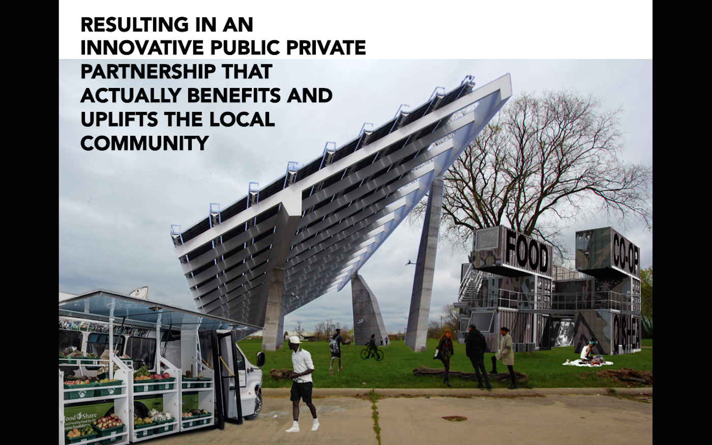 Slide from our group presentation on a cooperative food store with solar panel roof in the O'Shea neighborhood of Detroit (image courtesy Unai Reglero)