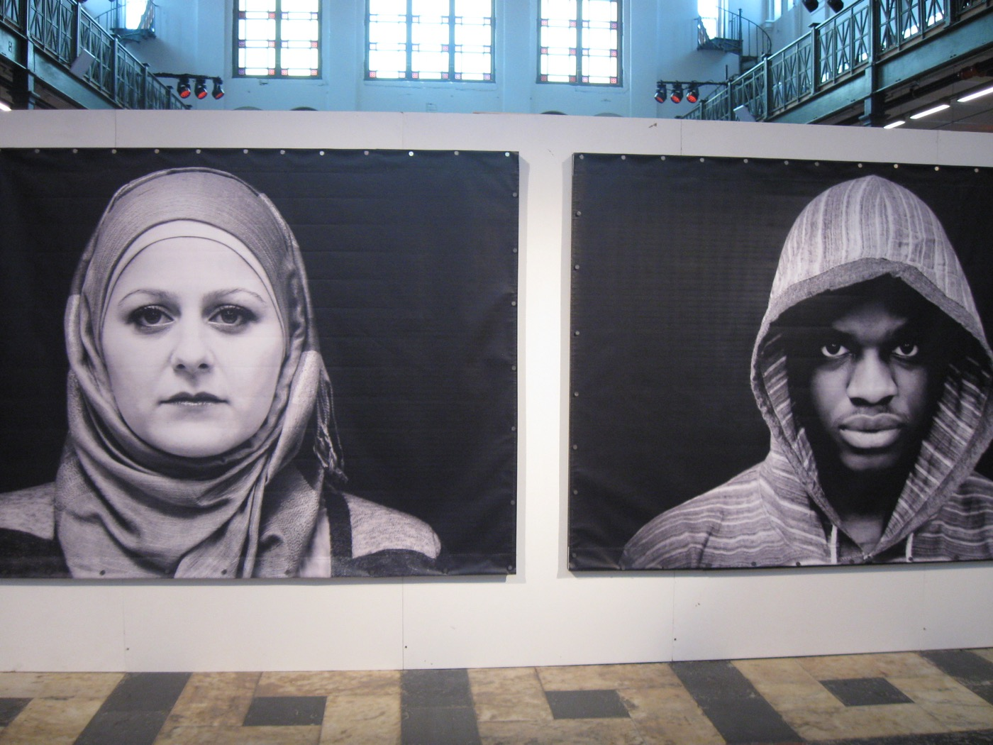 """Tracy Keza with Studio Revolt, """"Hijabs and Hoodies"""" (2016). All photos by the author for Hyperallergic except where noted"""