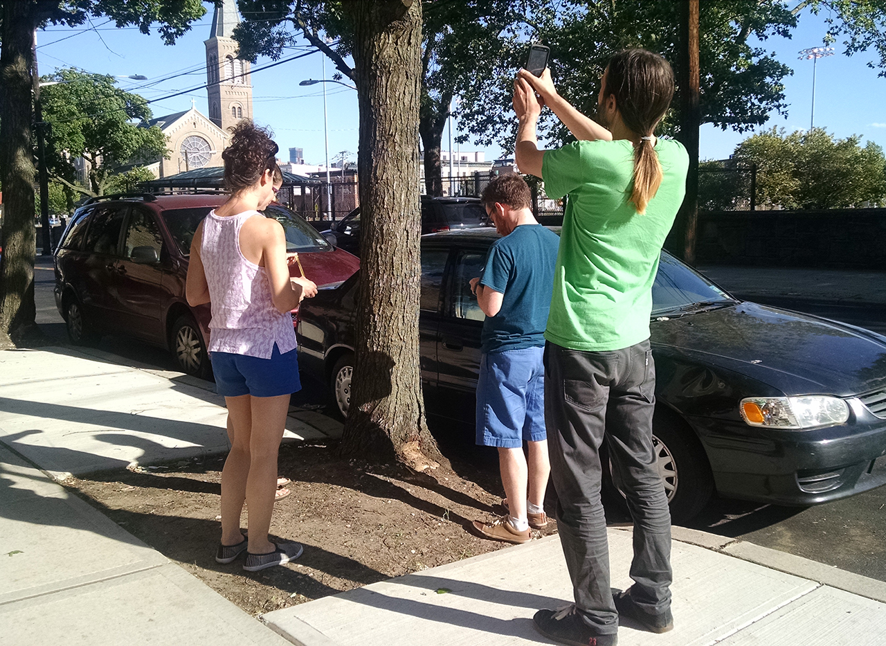 Volunteers mapping trees on OpenTreeMap.org, Jersey City Heights.