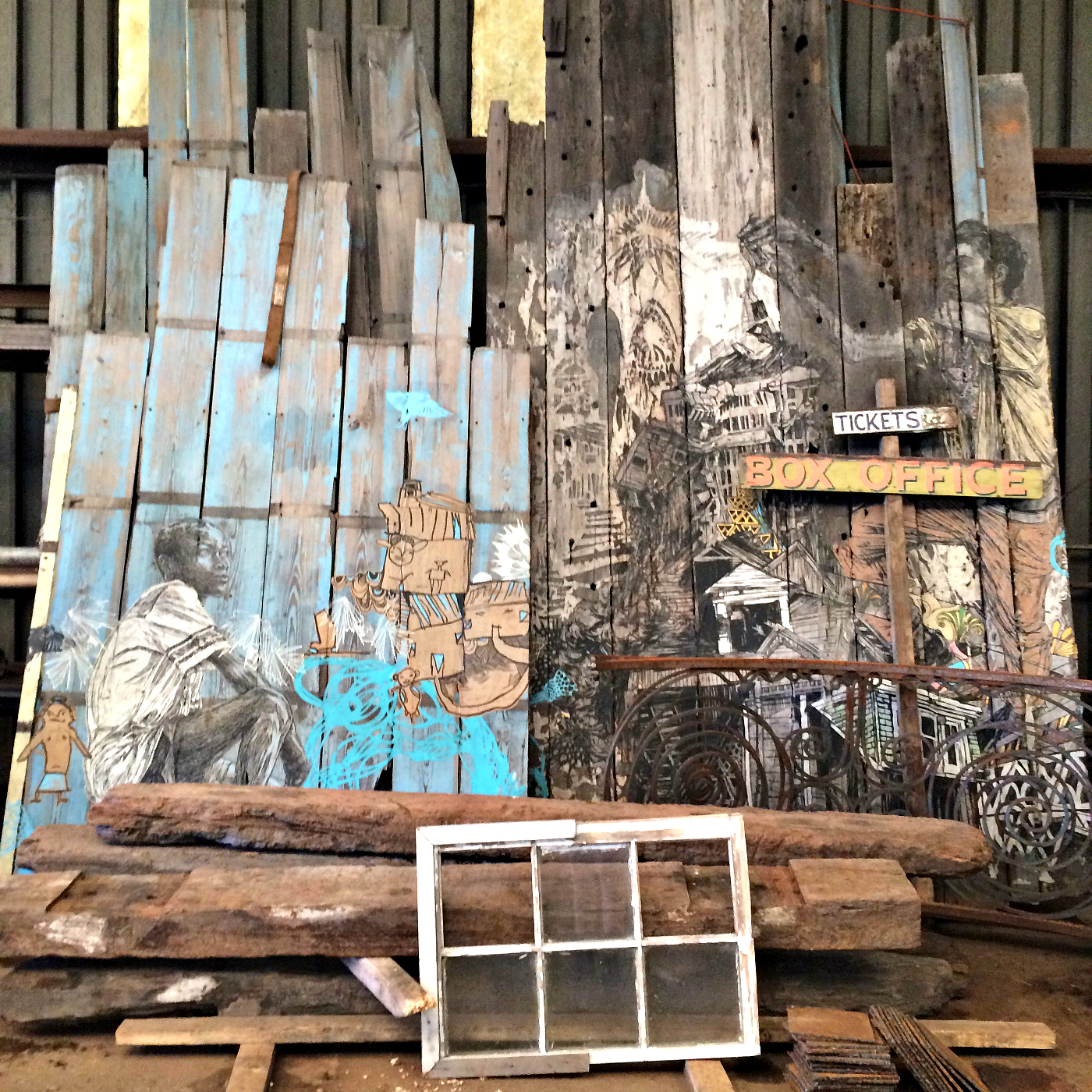 Fence by Swoon awaiting installation at the new permanent home of the Music Box by New Orleans Airlift (all photos by the author for Hyperallergic unless noted)