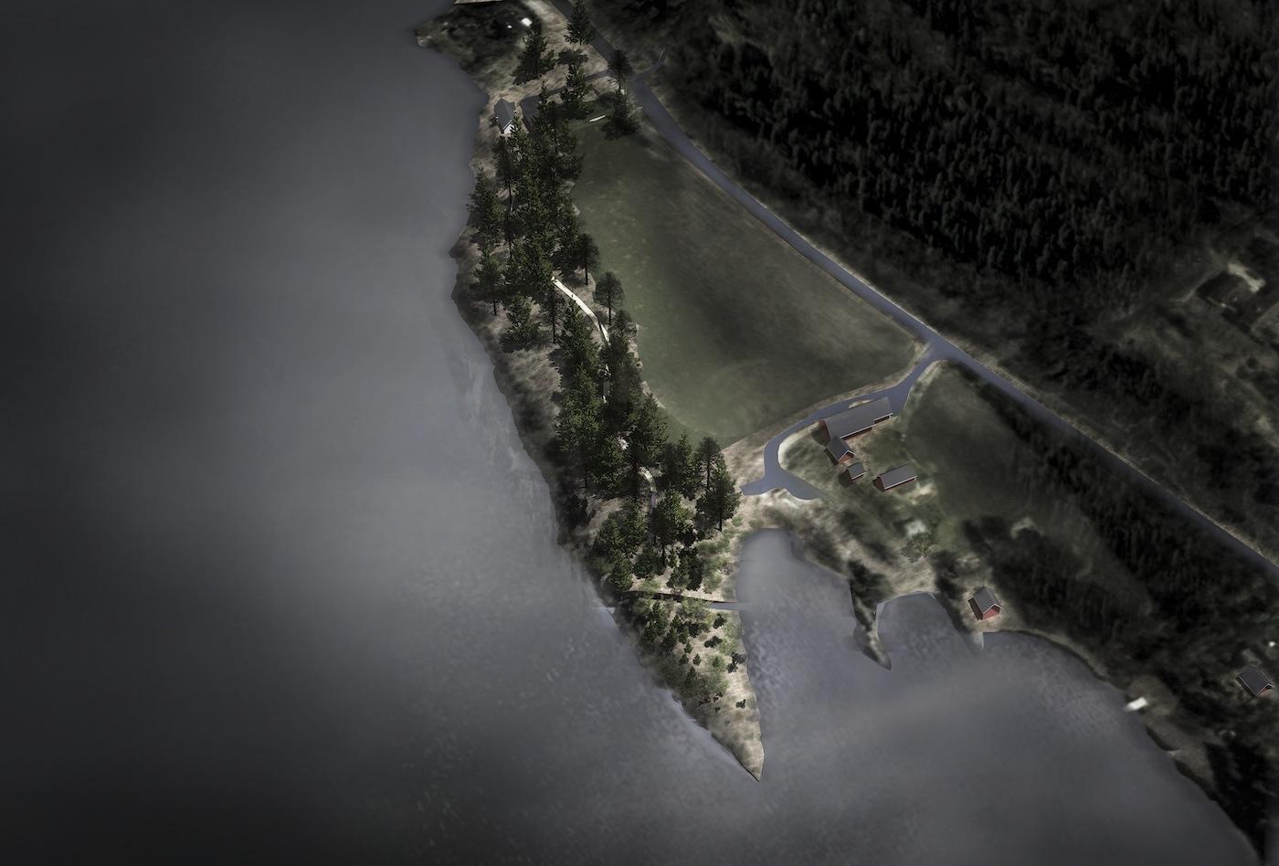 """Aerial rendering of Jonas Dahlberg, """"22 July Memorial at Sørbråten"""""""