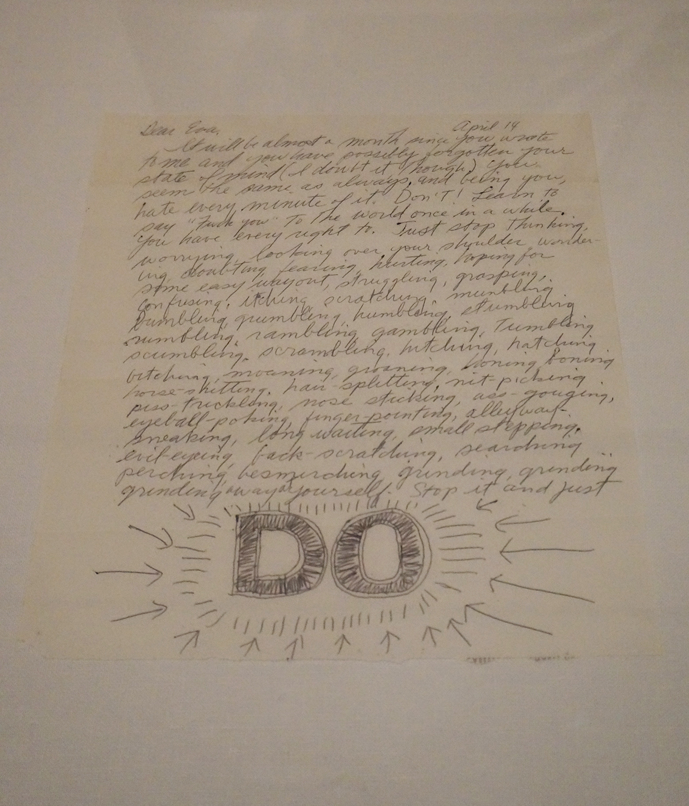 A page from Sol LeWitt's 1965 letter to Eva Hesse (click to enlarge)