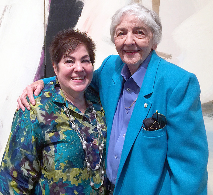 Curator Gwen Chanzit (left) and artist Betty Godwin.
