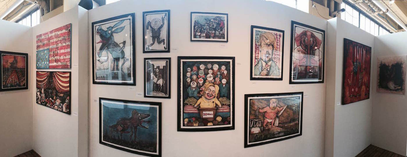 Installation view of 'Adam Sheetz: Nobody's Safe' at Gallery 160 (image courtesy the artist) (click to enlarge)