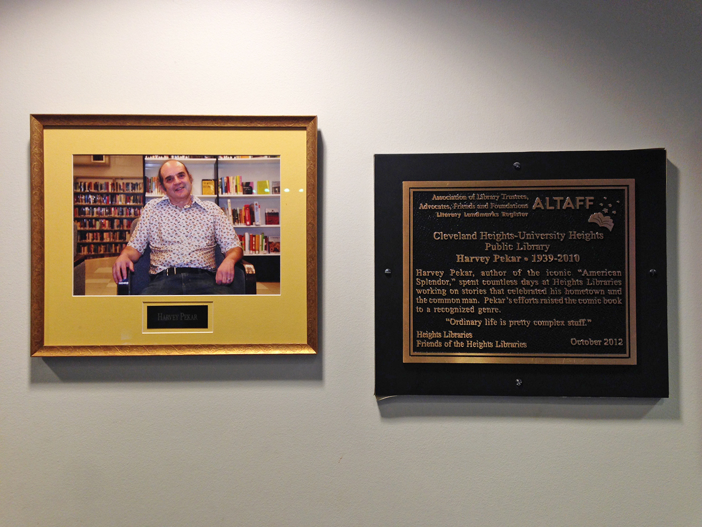 A plaque dedicated to Harvey at the Cleveland Heights-University Heights Public Library