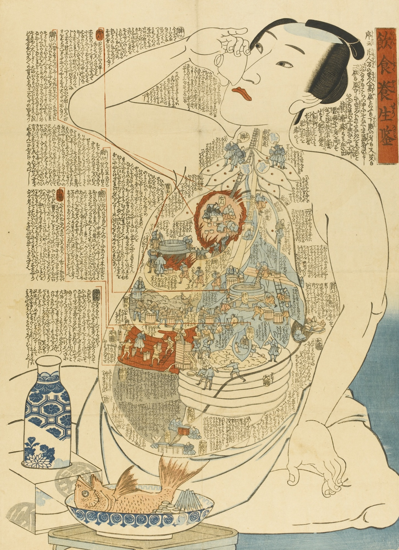 "Kunisada, ""Model of a Heathful Diet (Inshoku yōjō kagami)"" (19th century), woodblock (via Sotheby's) (click to enlarge)"