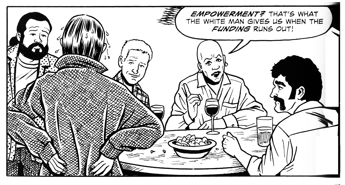 A panel from 'Second Avenue Caper,' written by Joyce Brabner and drawn by Mark Zingarelli
