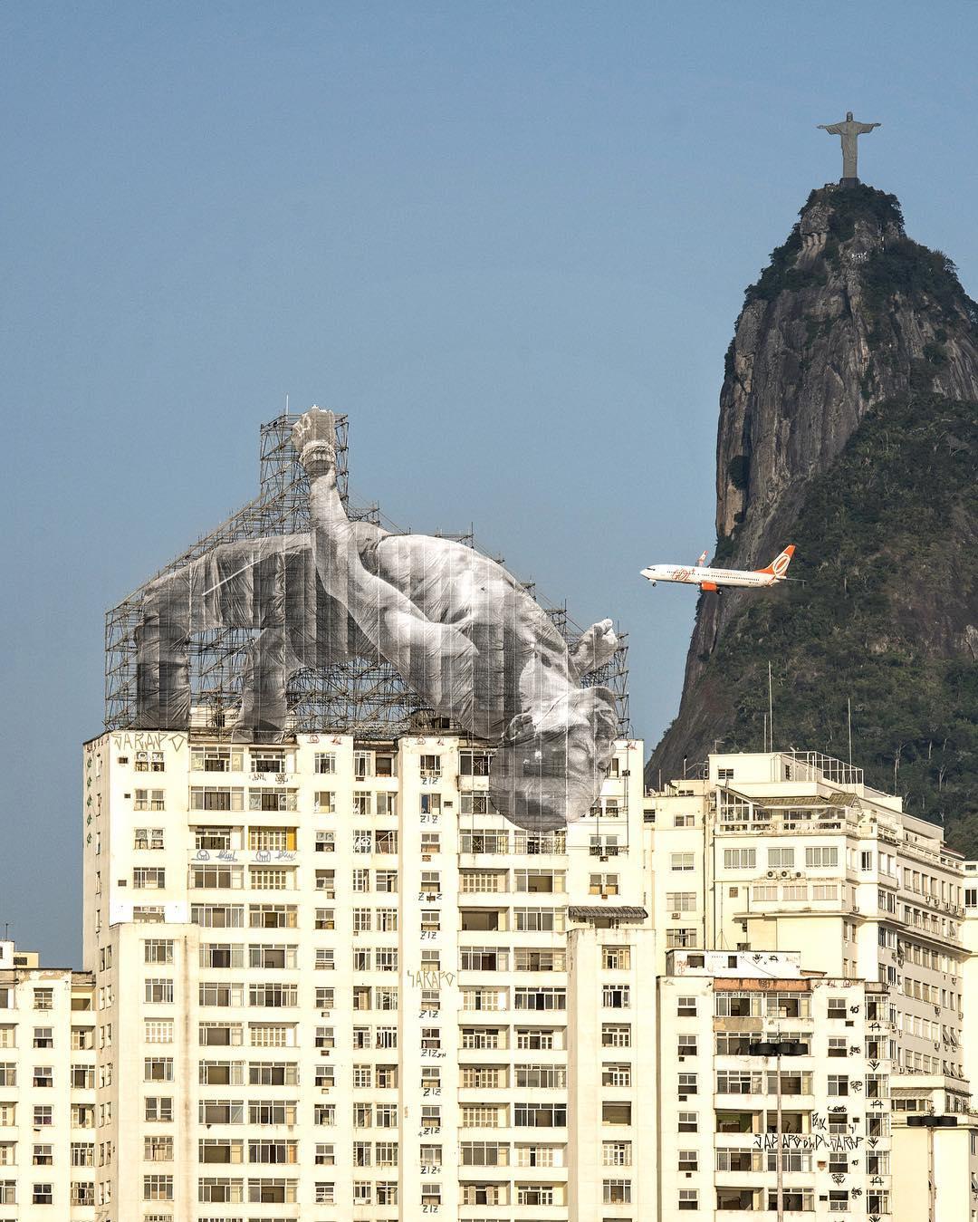 Installation by JR in Rio (photo via @jr/Instagram)