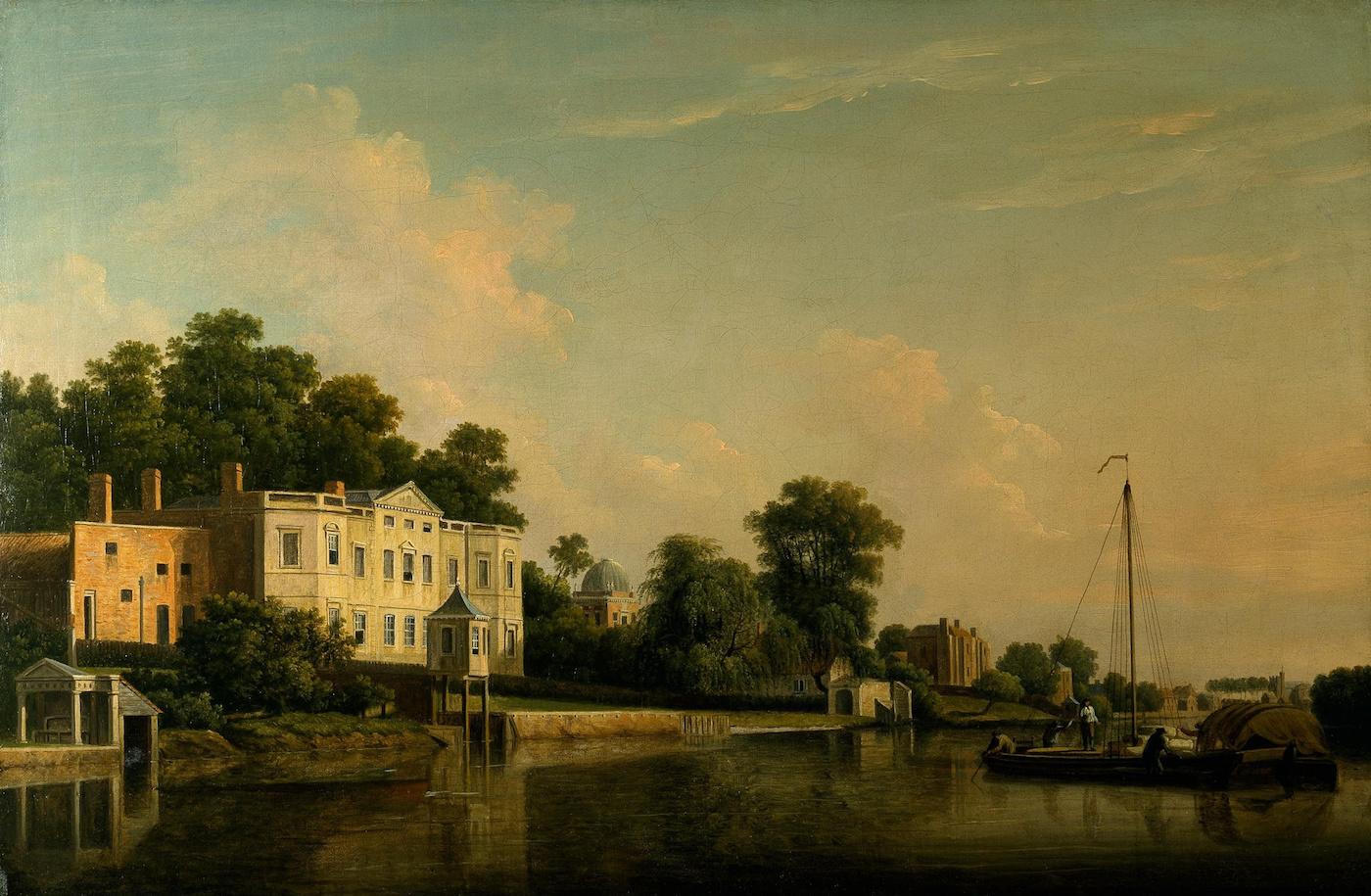 "Samuel Scott, ""A View of Alexander Pope's Villa, Twickenham, on the Banks of the Thames"" (1759), oil on canvas (via Denver Art Museum/Wikimedia)"