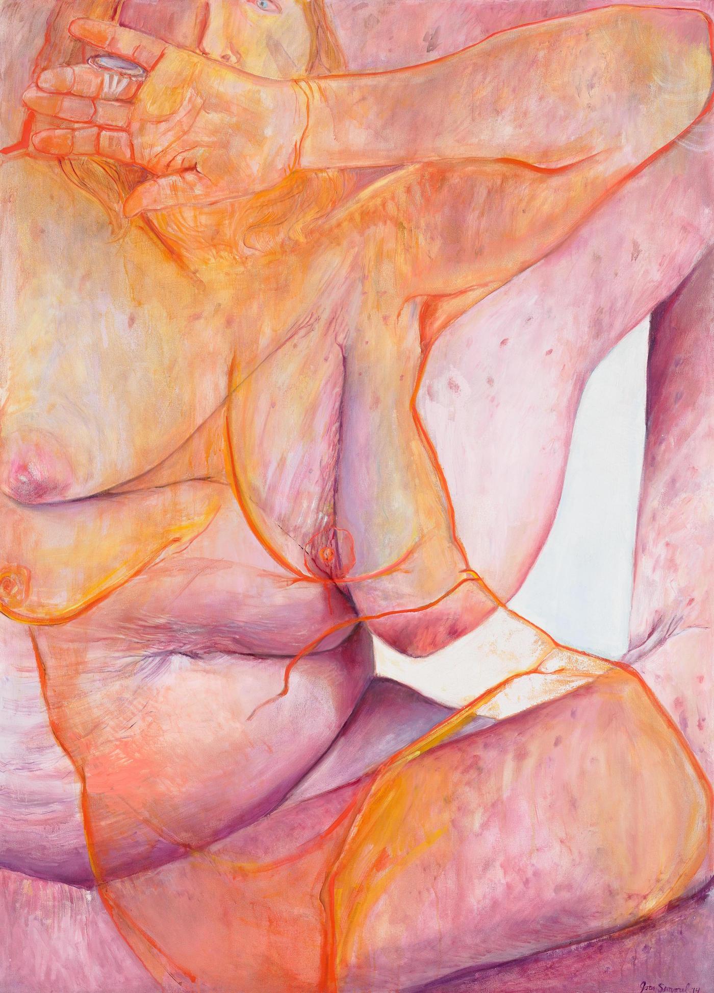 "Joan Semmel, ""Open Hand"" (2015), oil on canvas, 66 x 48 in (courtesy Alexander Gray Associates, New York; © Joan Semmel/Artists Rights Society [ARS], New York)"