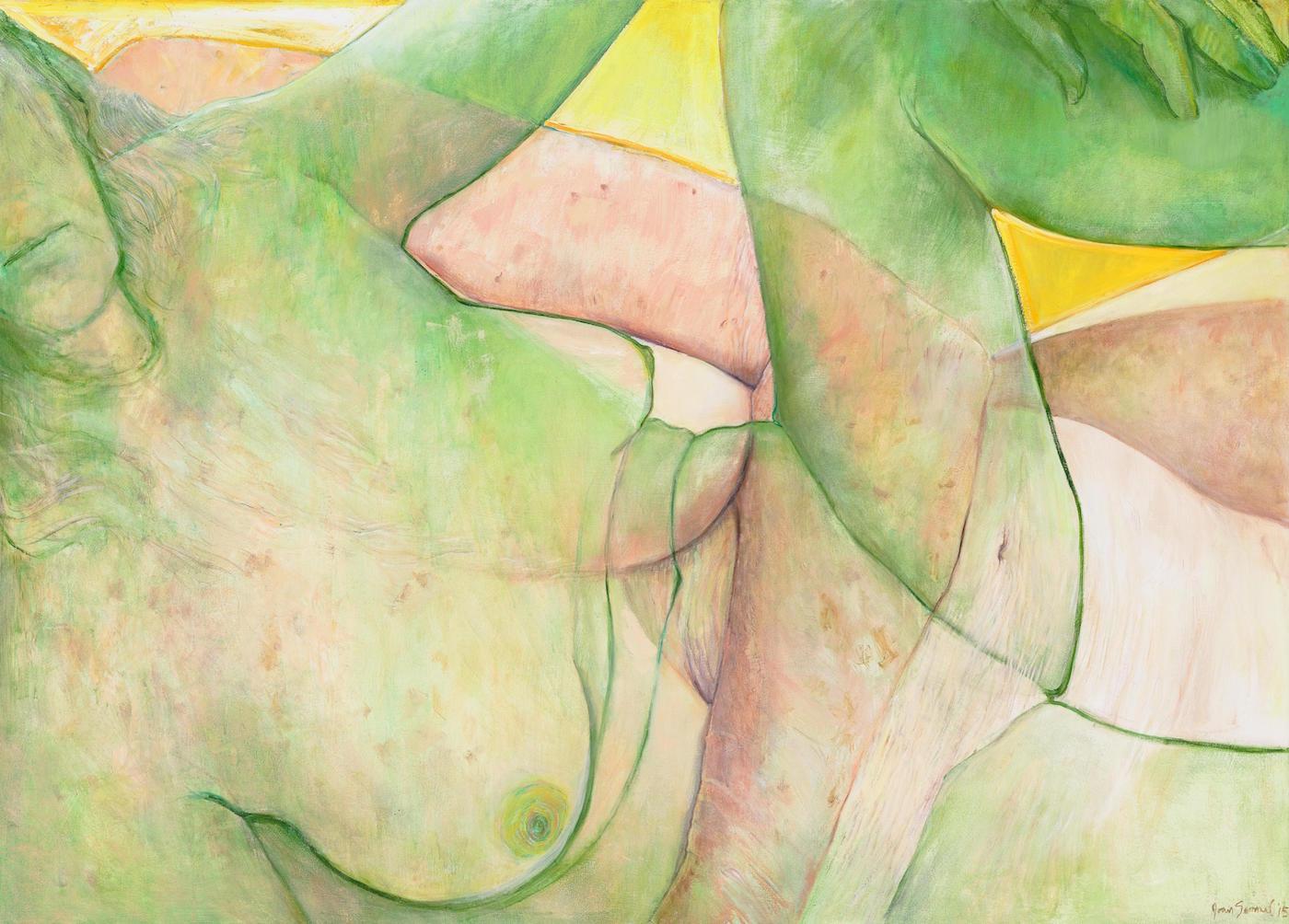 "Joan Semmel, ""Yellow Sky"" (2015), oil on canvas, 51 x 71 in (courtesy Alexander Gray Associates, New York; © Joan Semmel/Artists Rights Society [ARS], New York)"
