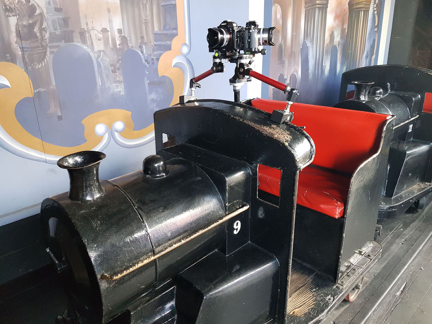 Camera mounted on a dark ride train for the Dark Ride Project