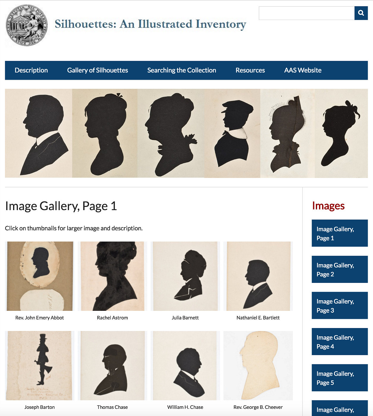 """The """"Silhouettes: An Illustrated Inventory"""" site by the American Antiquarian Society (screenshot by the author for Hyperallergic)"""