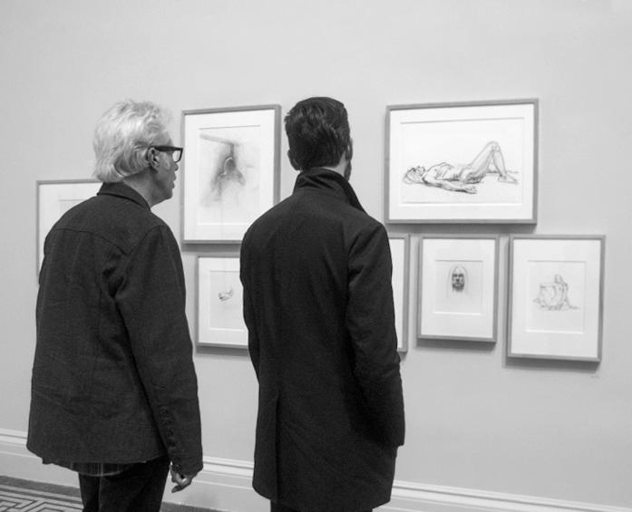 Jim Jarmusch with drawings of Iggy Pop nude