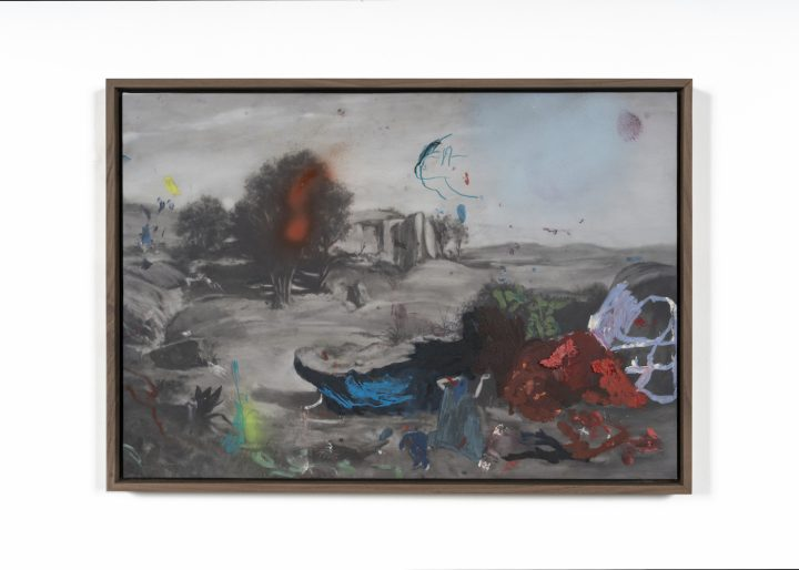 """Marc Horowitz, """"Reel 80 ((softly) it's impossible)"""" (2016), oil, oil stick, archival ink and acrylic spraypaint on canvas in artist's frame, 36 x 53 cm"""