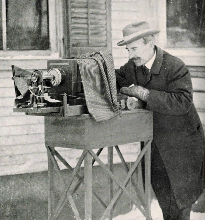 Wilson Bentley photographing snow crystals (via Farmer's Almanac)