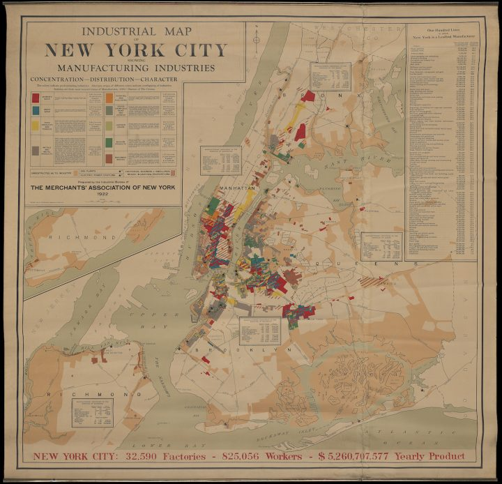 Partnership for New York City Industrial Map, showing manufacturing industries (1922) (courtesy Museum of the City of New York, Gift of McKim, Mead & White)