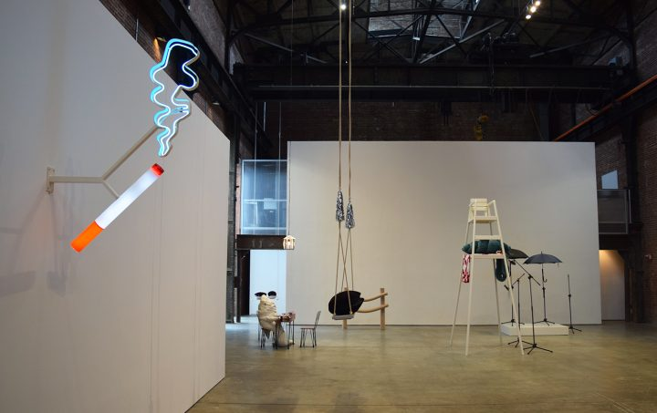 Installation view of Cosima von Bonin: Who's Exploiting Who in the Deep Sea? at SculptureCenter