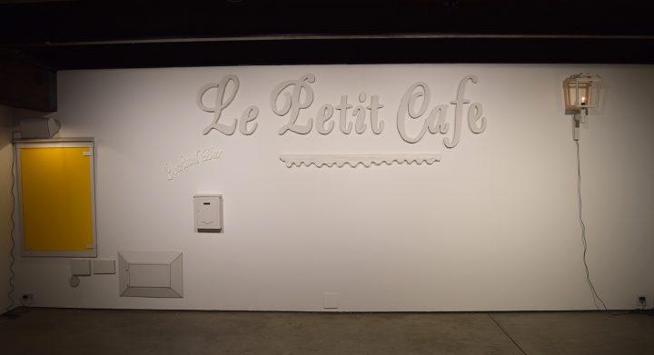 "Cosima von Bonin, ""LE PETIT CAFE, COCKTAIL BAR"" (2011), cardboard, electric wiring"