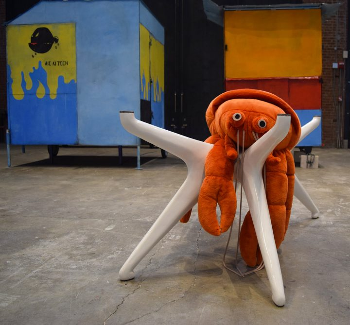 """Cosima von Bonin, """"THE BONIN/OSWALD EMPIRE'S NOTHING #5 (CVB'S SANS CLOTHING. MOST RISQUÉ. I'D BE DELIGHTED & MVO'S ORANGE HERMIT CRAB ON OFF-WHITE TABLE)"""" (2010), mohair velour, polyfill, styroplast, brass"""