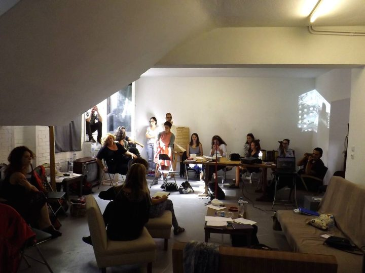 """""""Learning from Documenta"""" workshop in September 2016, """"Art and Anthropology Research Kit,"""" at ΤWIXTlab (photo by George Sakkas)"""