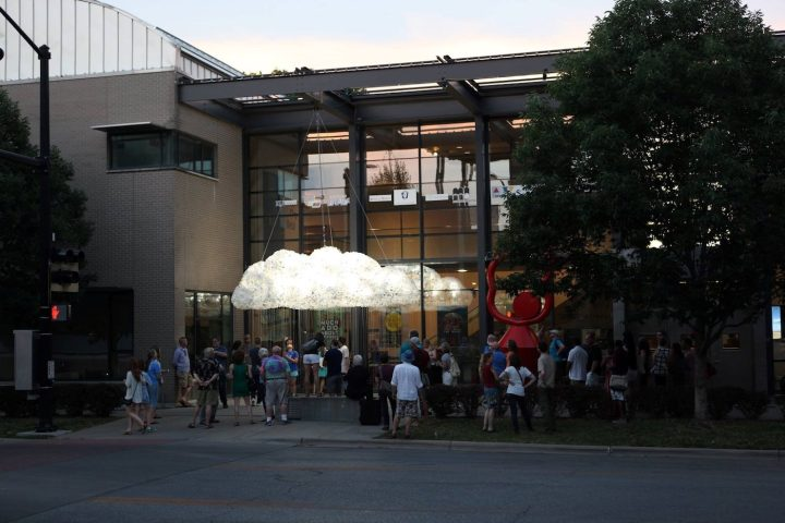 """Art Instillation """"CLOUD"""" by artists Wayne Garrett and Caitlin r.c. Brown during the Free State Festival in Lawrence, Kansas (photo by Ann Dean, courtesy of the Lawrence Arts Center Lawrence, KS)"""