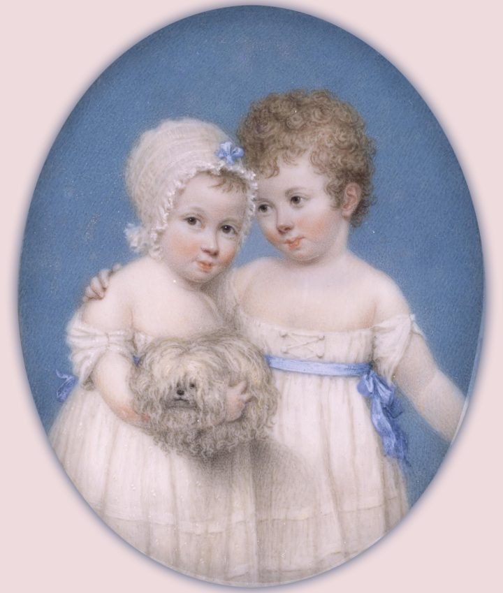 """J.T. Mitchell, """"Elizabeth Mary and Augustus William Hillary"""" (1803), Watercolor on ivory, 9k rose gold, paper, glass, Museum of Fine Arts Houston (via Wikimedia Commons)"""