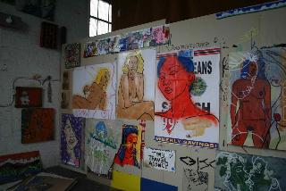 "A view of the open studio/exhibition ""Peep-o-rama"""