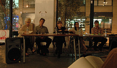 Wilkin (center) as part of a Triangle Arts Workshop panel discussion last fall in DUMBO, Brooklyn, NY.