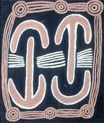 "Charles Tarawa (Tjaruru) Tjungurrayi, ""Moon Love Dreaming of Man and Woman -- Medicine Story"" (1971)  (courtesy nyu.edu/greyart)"