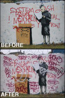 The street art piece was on Sutton's Beddington Farm Road, near an Ikea store. (via BBC)