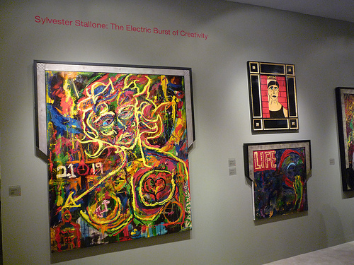 A view of Sylvester Stallones hideous paintings at ___