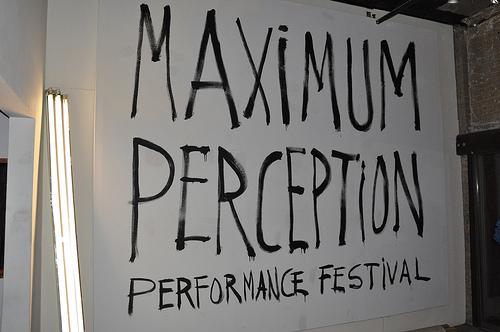 Title wall for Maximum Perception Performance Festival