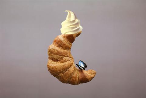 "Urs Fischer, ""Cumpadre"" (2009) with vanilla ice cream on top."
