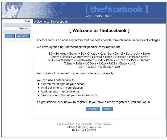 A screenshot of thefacebook.com ca. 2004