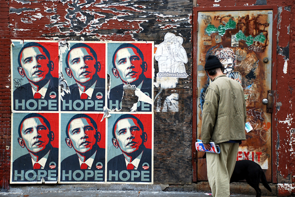 """A Fairey """"Hope"""" poster in Boston right after the 2008 US Presidential elections. (via flickr.com/geoftheref)"""