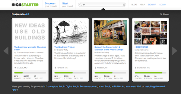 """Some of the search results for Kickstarter when you plug in """"art""""."""