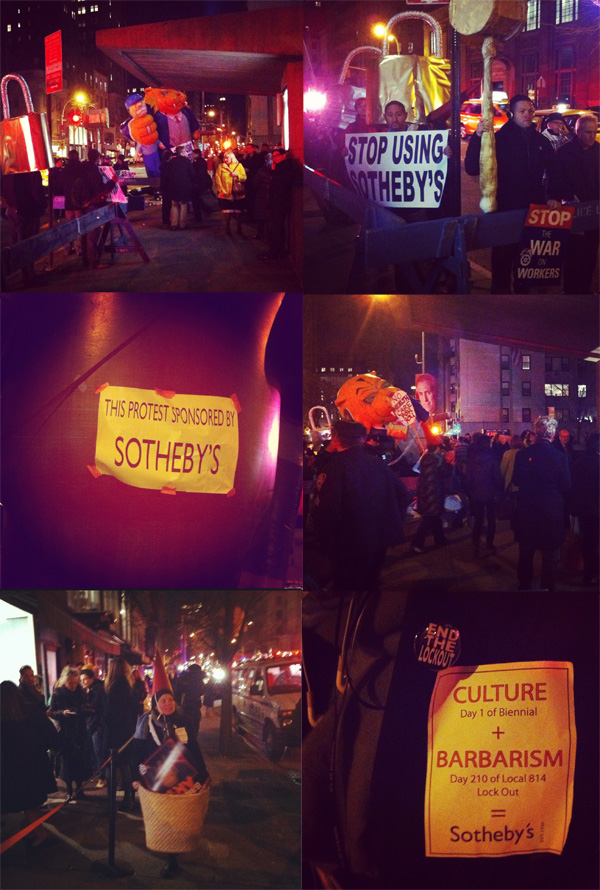 Sotheby's Art Handlers & OWS Protest Whitney Biennial VIP ...