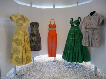 Playsuits from the 1950s by designers DeDe Johnson, Louella Ballerino and Levis Strauss & Co.